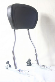 Detachable Chrome Passenger Sissy Bar, Black Backrest