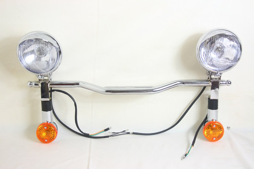 Driving Light Set: 2 Chrome Plastic Driving Light with Wire, 2 Chrome Turn Signal Light With Wire, 1 Chrome Metal Driving Light Bar