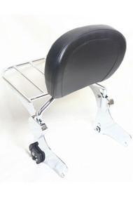 Sissy Bar and Luggage Rack Combo Set: Detachable Chrome Sissy Bar Rack, Chrome Luggage Rack, Black Backrest Pad