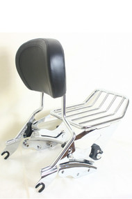 Sissy Bar, Luggage Rack and Docking Hardware Combo Set: Detachable Chrome Sissy Bar, Detachable Chrome 2-Up Luggage Rack, 4-Point Docking Hardware, Black Backrest Pad