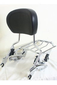Sissy Bar, Luggage Rack and Docking Hardware Kit Combo Set: Detachable Chrome Sissy Bar, Detachable Chrome Air Wing Luggage Rack, 4-Point Docking Hardware Kit, Black Backrest Pad