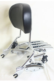 Sissy Bar, Luggage Rack and Docking Hardware Combo: Detachable Chrome Sissy Bar, Detachable Chrome Stealth Luggage Rack, 4-Point Docking Hardware Kit, Black Backrest Pad 2009 2010 2011 2012 2013