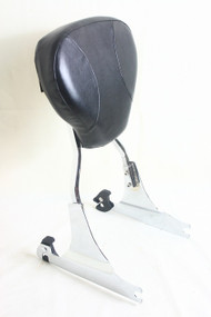 Detachable Fat Boy and Softail Deluxe Sissy Bar Set: Chrome Sissy Bar Rack, Left and Right Sideplates, Black Backrest Pad
