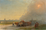 Ox-carts in the Ukrainian steppe 1888 by Ivan Aivazovsky