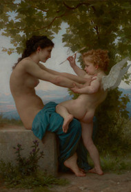 A Young Girl defending herself against Eros by William Adolph Bouguereau