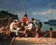 In a Quandary, or Mississippi Raftsmen at Cards 1851 by George Caleb Bingham Framed Print on Canvas