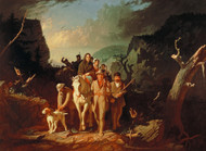 Daniel Boone escorting settlers through the Cumberland Gap by George Caleb Bingham Framed Print on Canvas