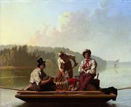 Boatmen on the Missouri 1846 by George Caleb Bingham Framed Print on Canvas