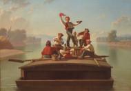 The Jolly Flatboatman by George Caleb Bingham Framed Print on Canvas