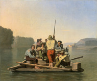 Lighter Relieving a Steamboat Aground 1847 by George Caleb Bingham Framed Print on Canvas