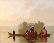 Fur Traders Descending the Missouri 1845 by George Caleb Bingham Framed Print on Canvas
