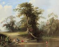 Landscape - rural scene 1845 by George Caleb Bingham Framed Print on Canvas