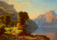 A View of a Lake in the Mountains by George Caleb Bingham Framed Print on Canvas