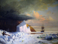 An Arctic Summer: Boring though the Pack in Melville Bay 1871 by William Bradford Framed Print on Canvas