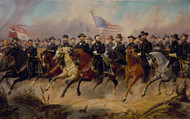 Grant and His Generals 1865 by Ole Peter Hansen Balling Framed Print on Canvas