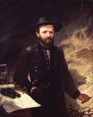 Portrait of Ulysses S. Grant 1865 by Ole Peter Hansen Balling Framed Print on Canvas