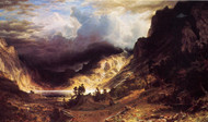 A Storm in the Rocky Mountains, Mt. Rosalie by Albert Bierstadt Framed Print on Canvas