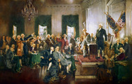 Scene at the Signing of the Constitution of the United States 1940 by Howard Chandler Christy Framed Print on Canvas