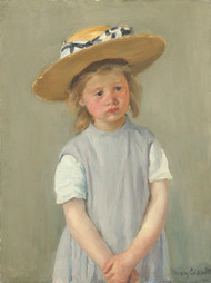 Child in a Straw Hat 1886 by Mary Cassatt Framed Print on Canvas