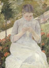 Girl in the Garden by Mary Cassatt Framed Print on Canvas