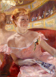 Woman with a Pearl Necklace in a Loge 1879 by Mary Cassatt Framed Print on Canvas