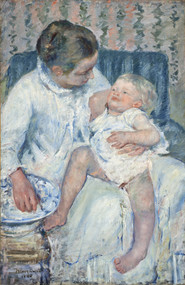 Mother About to Wash Her Sleepy Child by Mary Cassatt Framed Print on Canvas