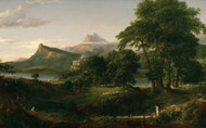 The Course of Empire The Arcadian or Pastoral State 1836 by Thomas Cole Framed Print on Canvas
