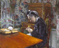 Mademoiselle Boissiere Knitting 1877 by Gustave Caillebotte Framed Print on Canvas