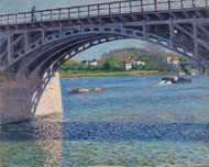 Bridge at Argenteuil and the Seine Le pont d'Argenteuil by Gustave Caillebotte Framed Print on Canvas