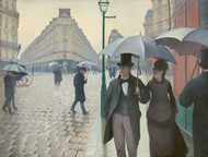 Paris Street in Rainy Weather 1877 by Gustave Caillebotte Framed Print on Canvas