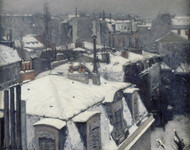 Rooftops in the Snow (snow effect) 1878 by Gustave Caillebotte Framed Print on Canvas