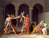 Oath of the Horatii - 2nd version by Jacques-Louis David Framed Print on Canvas