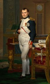 The Emperor Napoleon in his study at the Tuileries 1812 by Jacques-Louis David Framed Print on Canvas