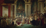 Coronation of Emperor Napoleon I and Coronation of the Empress Josephine in Notre-Dame de Paris, December 2, 1804 by Jacques-Louis David Framed Print on Canvas
