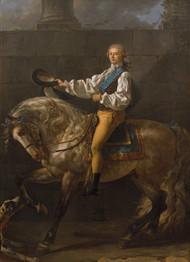Equestrian portrait of Stanislaw Kostka Potocki 1781 by Jacques-Louis David Framed Print on Canvas