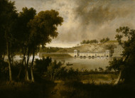 View of the Fairmount Waterworks, Philadelphia, from the Opposite Side of the Schuylkill River 1824 by Thomas Doughty Framed Print on Canvas