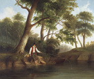 Man Fishing 1848 by Robert S. Duncanson Framed Print on Canvas