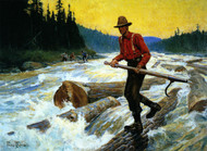 The Log Rider by Philip R. Goodwin Framed Print on Canvas