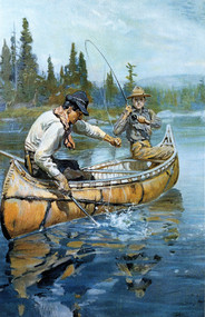 Men Fishing in Canoe by Philip R. Goodwin Framed Print on Canvas