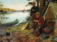 Fishermen at Camp by Philip R. Goodwin Framed Print on Canvas
