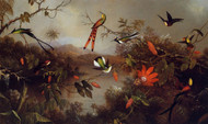 Tropical Landscape with Ten Hummingbirds by Martin Johnson Heade Framed Print on Canvas