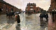 Rainy Day, Boston 1885 by Childe Hassam Framed Print on Canvas