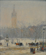 Snowstorm, Madison Square 1890 by Childe Hassam Framed Print on Canvas