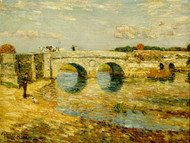 Bridge Over the Stour by Childe Hassam Framed Print on Canvas