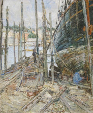 The Caulker by Childe Hassam Framed Print on Canvas