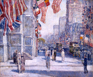 Early Morning on the Avenue in May 1917 by Childe Hassam Framed Print on Canvas