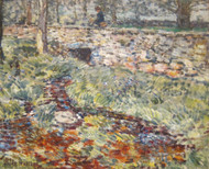 Stone Bridge, Old Lyme, Connecticut 1890 by Childe Hassam Framed Print on Canvas