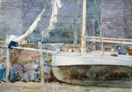 Drydock, Gloucester by Childe Hassam Framed Print on Canvas
