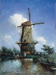 Windmill near Delft 1857 by Johan Barthold Jongkind Framed Print on Canvas