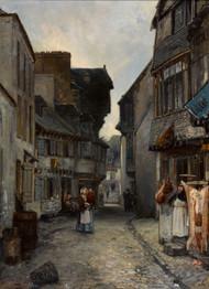 A street in Landerneau 1851 by Johan Barthold Jongkind Framed Print on Canvas